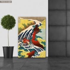 Canvas print Where Yoshitsune washed his horse, Hokusai K.