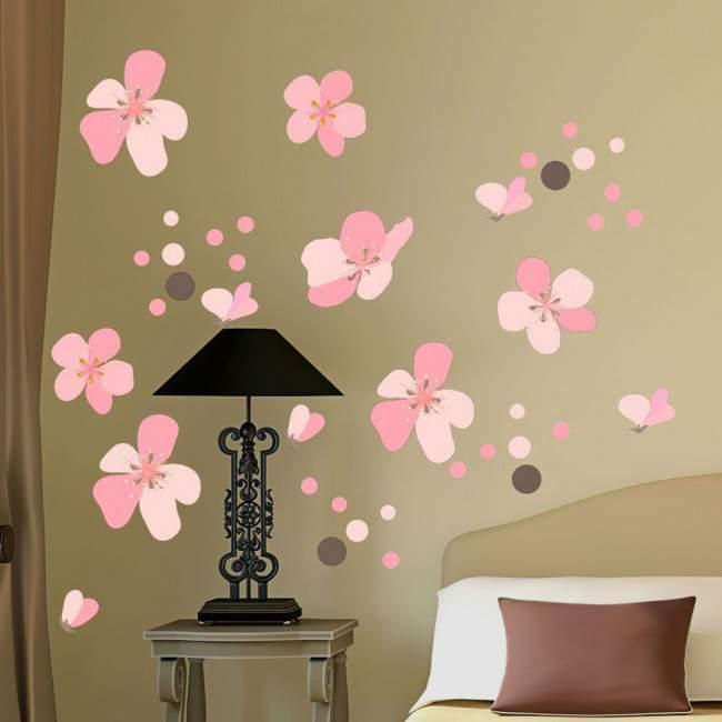 Αυτοκόλλητο τοίχου ροζ λουλούδια και πέταλα, Άνθη κερασιάς