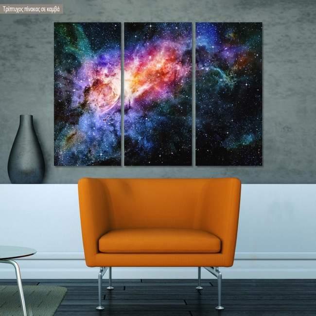 Πίνακας σε καμβά Nebula and galaxy, τρίπτυχος