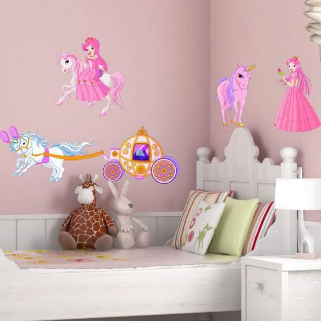 Αυτοκόλλητα τοίχου παιδικά Πριγκίπισσα, άμαξα και μονόκερος