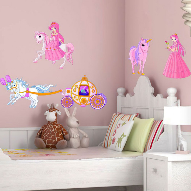 Kids wall stickers Princess unicorn carriage