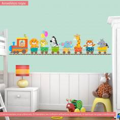 Kids wall stickers Animal train