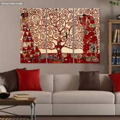 Canvas print Tree of life  red, Klimt G,  3 panels