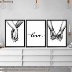 Αφίσα με κάδρο Love hands,  κάδρο, μαύρη κορνίζα