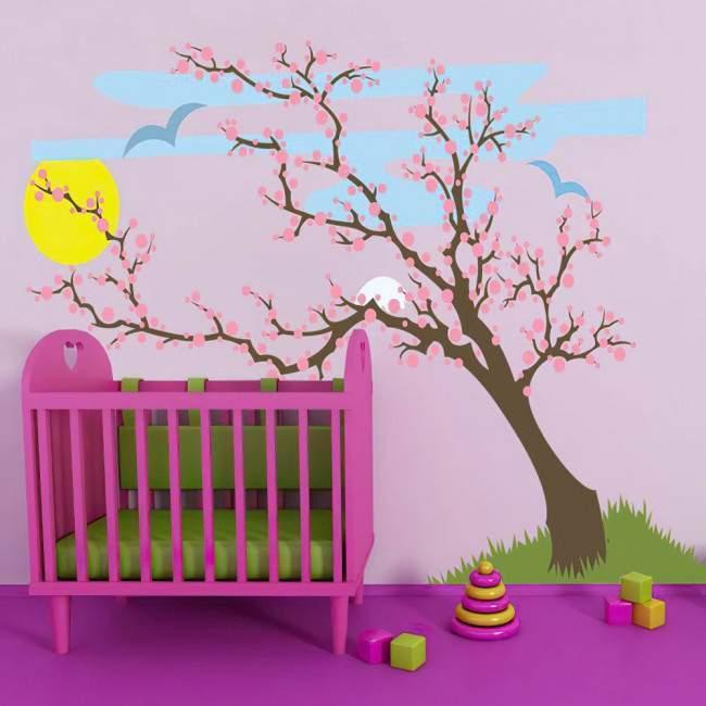 Αυτοκόλλητο τοίχου ανθισμένο δέντρο, ουρανός ήλιος και πουλιά, Ανοιξιάτικο τοπίο