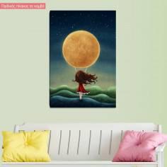 Πίνακας παιδικός σε καμβά Καληνύχτα, κοριτσάκι
