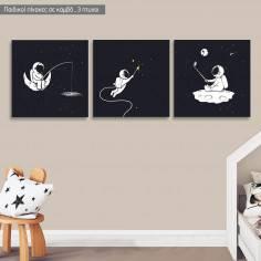 Πίνακας σε καμβά Αστροναύτης, τρίπτυχος