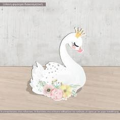Wooden figure printed Swan flowers