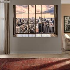Canvas print  New York city skyline, window view