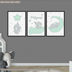 Kids canvas print Elephant,  3 panels