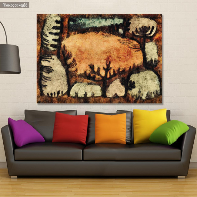 Canvas print The day in the forest reart (original by Klee P), reproduction
