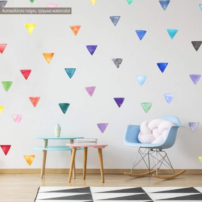Αυτοκόλλητα τοίχου Πολύχρωμα τρίγωνα watercolor