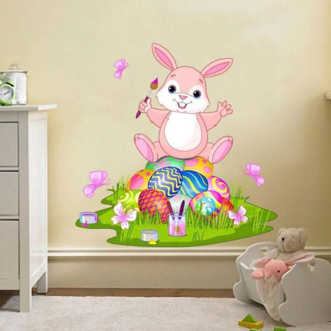 Πασχαλινό κουνελάκι αυτοκόλλητο τοίχου Πασχαλινό