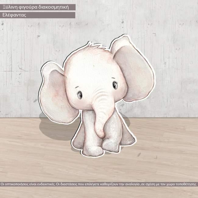Wooden figure Elephant drawing