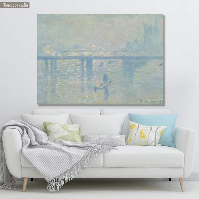 Πίνακας ζωγραφικής  Charing cross bridge, Monet C, αντίγραφο σε καμβά
