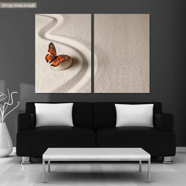 Πίνακας σε καμβά Zen butterfly II, δίπτυχος