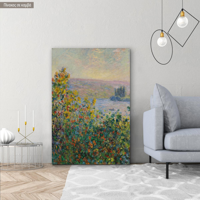 Canvas print Flower beds at Vetheuil, Monet C.
