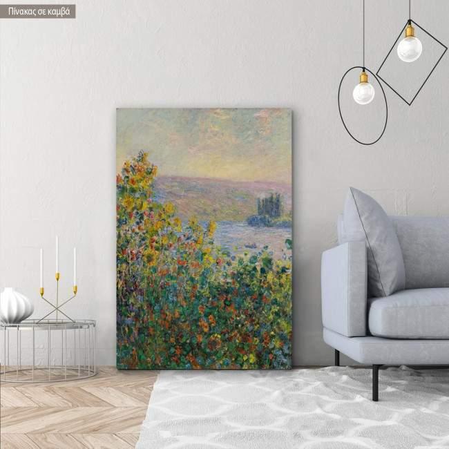 Πίνακας ζωγραφικής, Flower beds at Vetheuil, Monet C, αντίγραφο σε καμβά