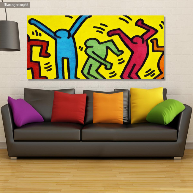 Canvas print Simple lined dancers, panoramic