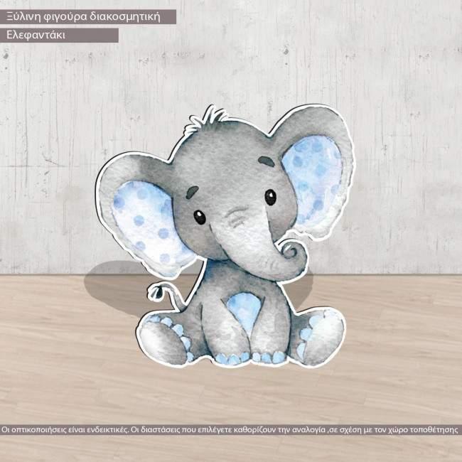 Wooden figure Elephant watercolor