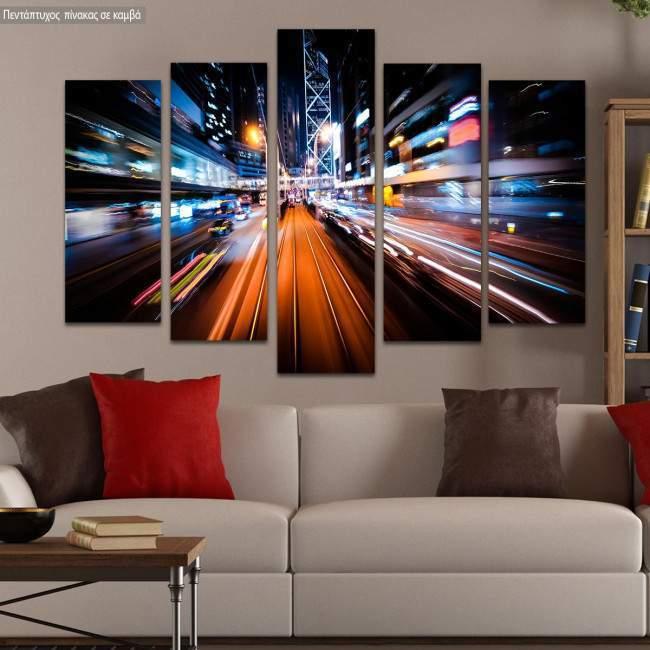 Canvas print Modern city motion five panels