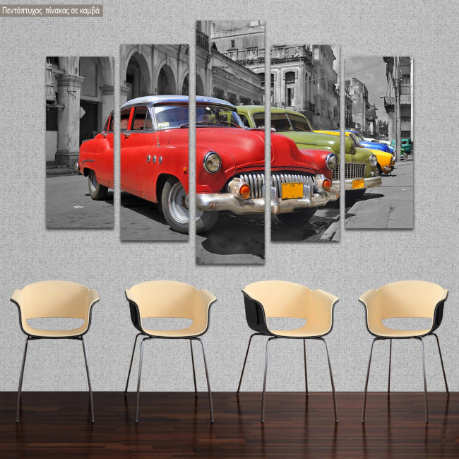 Canvas print Colorful Havana cars five panels