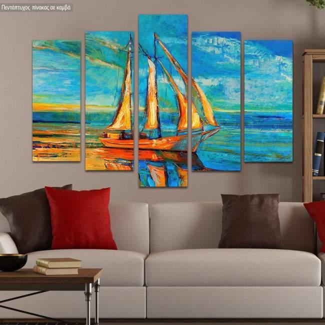 Canvas print Sailing reflections five panels