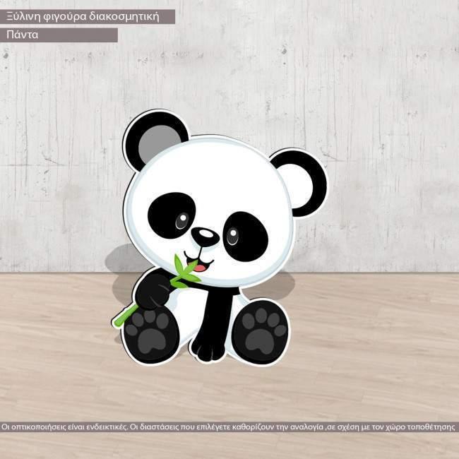 Cute panda wooden figure printed, panta