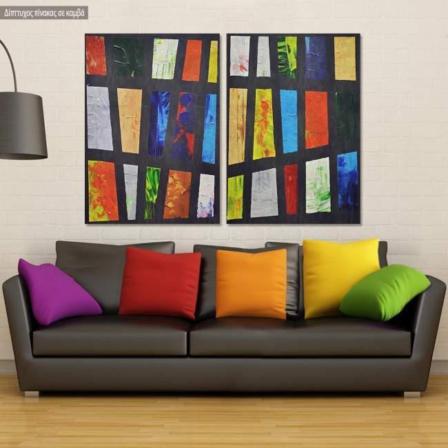 Πίνακας σε καμβά Abstract pair, δίπτυχος