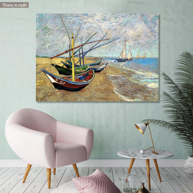 Canvas print  Fishing boats on the beach, Vincent van Gogh