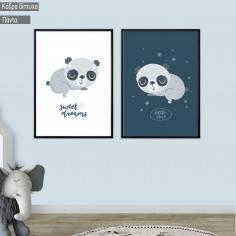 Kids canvas print Sleepy Panda, diptych