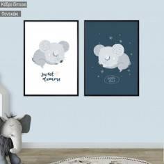 Kids canvas print Sleepy Mouse, diptych