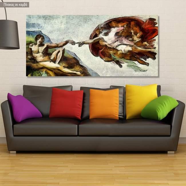 Πίνακας ζωγραφικής The creation of Adam reart (προτότυπο, Michelangelo), αντίγραφο σε καμβά