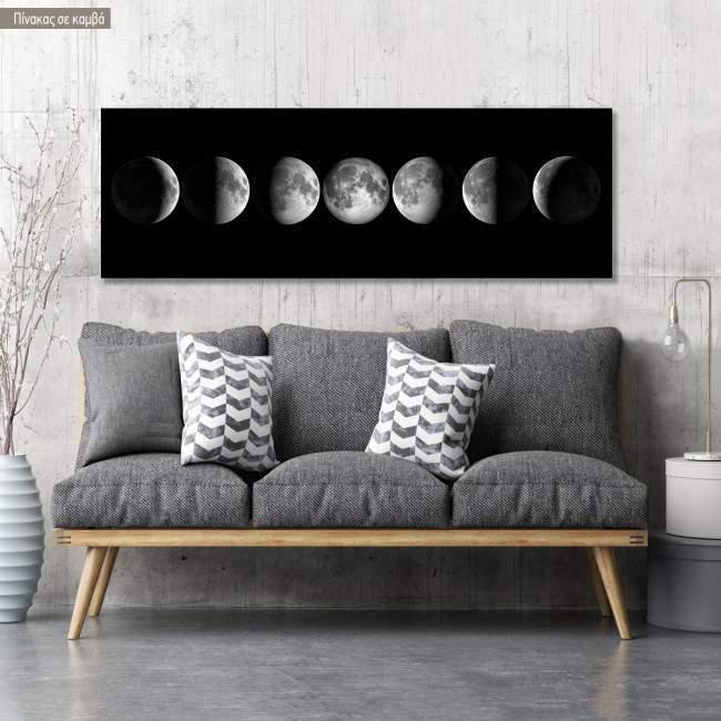 Πίνακας σε καμβά Moon phases, πανοραμικός