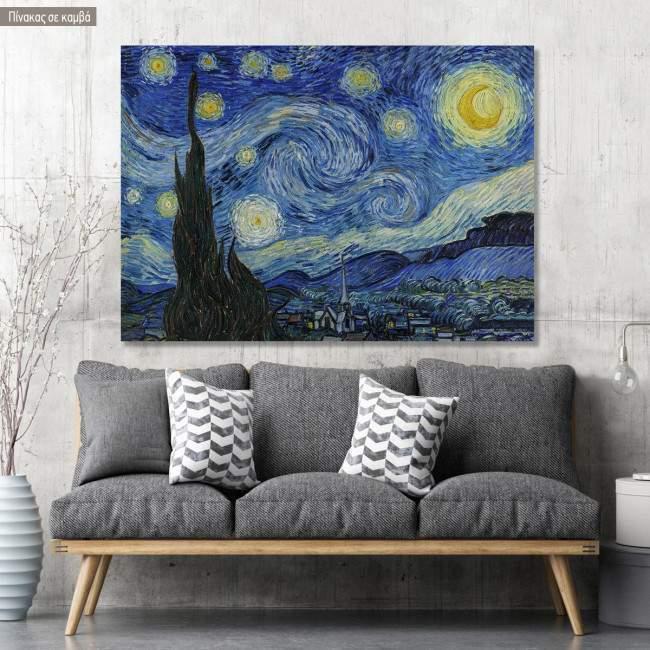 Πίνακας ζωγραφικής Starry night, van Gogh Vincent, αντίγραφο σε καμβά