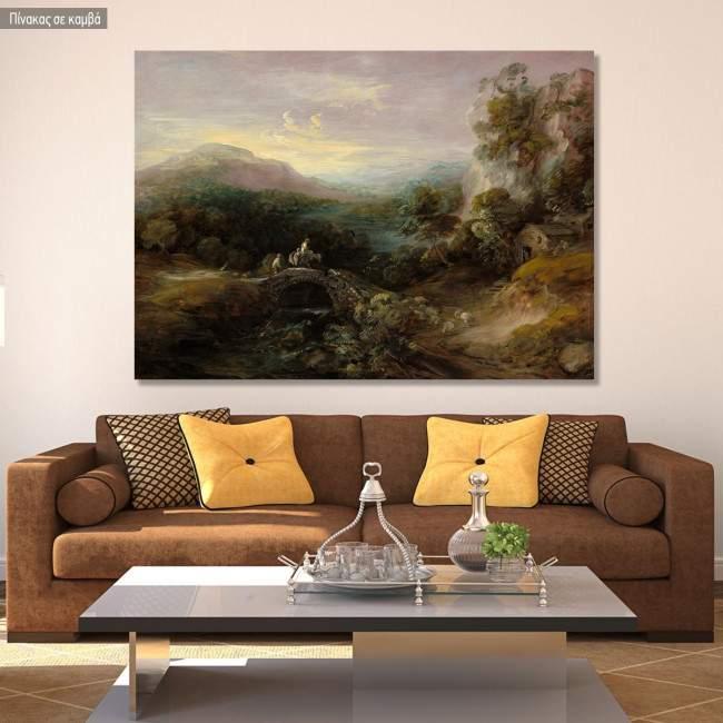 Πίνακας ζωγραφικής Mountain landscape with bridge, Gainsborough Thomas, αντίγραφο σε καμβά