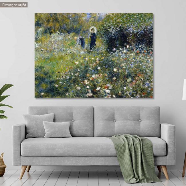 Canvas print Woman with a parasol in garden, Renoir P. A.