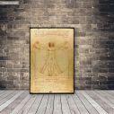 Πίνακας ζωγραφικής The vitruvian man by Leonardo da Vinci, αντίγραφο σε καμβά