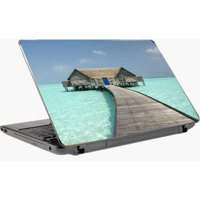 Εξωτικό σπίτι στην θάλασσα αυτοκόλλητο laptop