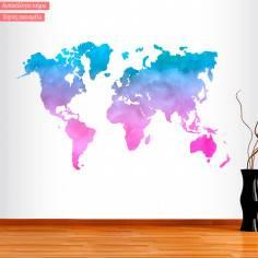 Αυτοκόλλητο τοίχου Παγκόσμιος Χάρτης watercolor