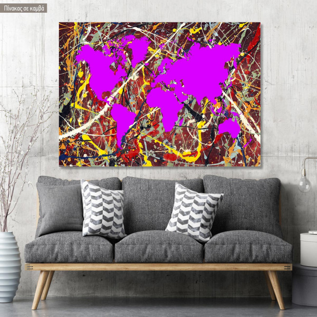 Abstract painting map reart  (original by Pollock J), πίνακας σε καμβά
