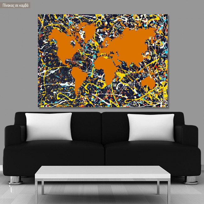Abstract painting map I reart  (original by Pollock J.), πίνακας σε καμβά