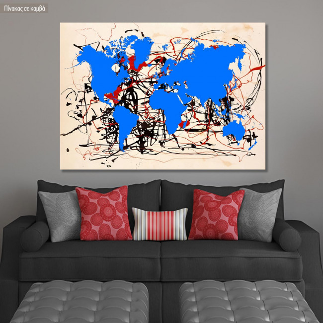 Abstract painting map II reart  (original by Pollock J), canvas print