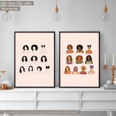 Women portraits IΙ, κάδρο, δίπτυχος