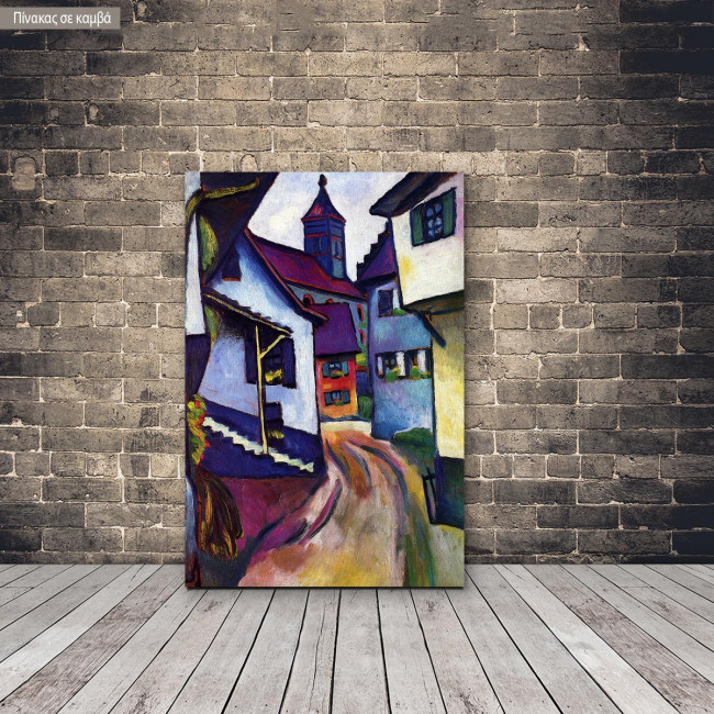 Canvas print Street with church in Kander, Macke August