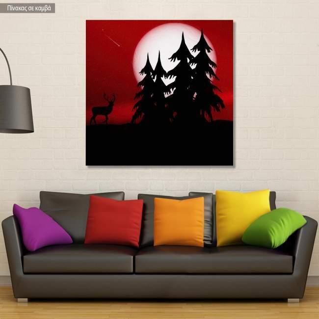 Πίνακας σε καμβά Πανσέληνος, Forest full moon
