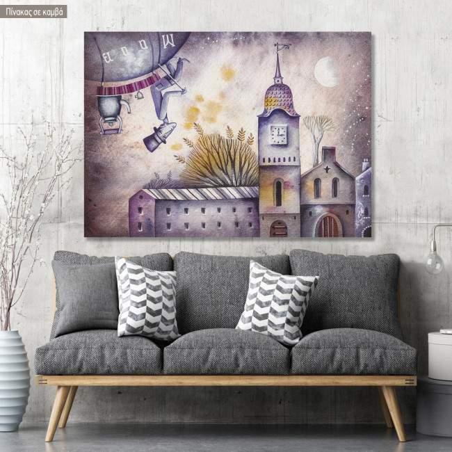 Πίνακας σε καμβά Dream journey with rocket