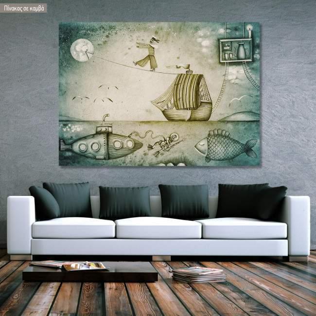 Πίνακας σε καμβά Dream journey by boat