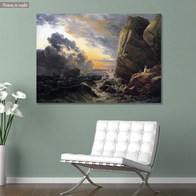 Πίνακας ζωγραφικής Shipwreck on a rocky coast, Dahl Johan Christian αντίγραφο σε καμβά