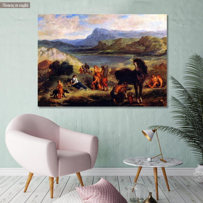 Canvas print Ovid with the Skythen, Delacroix Eugene